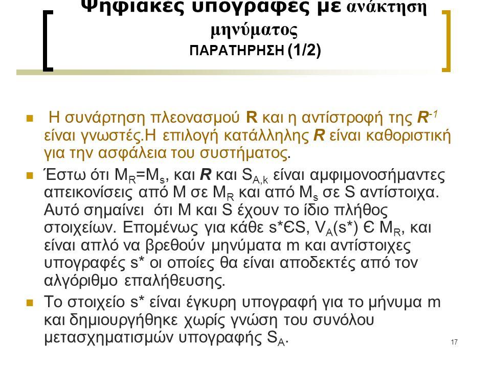 18 Ψηφιακές υπογραφές με ανάκτηση μηνύματος ΠΑΡΑΤΗΡΗΣΗ (2/2) Παράδειγμα συνάρτησης πλεονασμού R: Έστω ότι Μ = {m: m Є {0,1} n } και Έστω M s = {t: t Є {0,1} 2n }, και Ορίζουμε την R : M  M R με R (m) = m || m, όπου || είναι η συνένωση δηλ., M R = {m ||m: m Є M }  M s Για μεγάλο m ο λόγος | M R | / | M s | = (1/2) n είναι αμελητέος Αυτή η συνάρτηση πλεονασμού είναι κατάλληλη υπό την προϋπόθεση ότι μια απρόσεκτη επιλογή της υπογραφής s* μπορεί από τη μεριά ενός εχθρού να έχει μια όχι αμελητέα πιθανότητα να να μπορεί να παράγει το V A (s*) Є M R