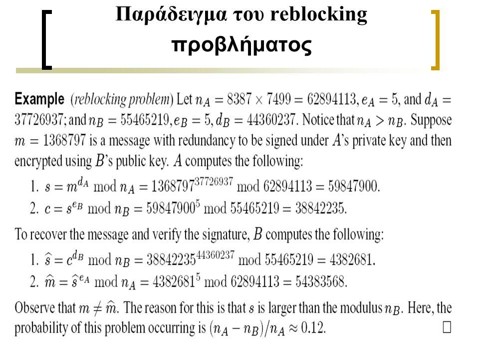 29 Παράδειγμα του reblocking προβλήματος