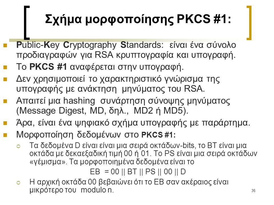 37 Διαδικασία υπογραφής για το PKCS#1 Κατακερματισμός μηνύματος m σε σύνοψη MD BER-κωδικοποίηση της σύνοψης ΜD και του τύπου της hash συνάρτησηςστη σειρά οκτάδων των δεδομένων D Μορφοποίηση της D στη σειρά οκτάδων ΕD, όπου ΕΒ = 00 || BT || PS || 00 || D Μετατροπή της ΕD σε ακέραιο αριθμό m RSA Υπολογισμός, s = m d mod n Μετατροπή ακεραίου s σε σειρά οκτάδων S.