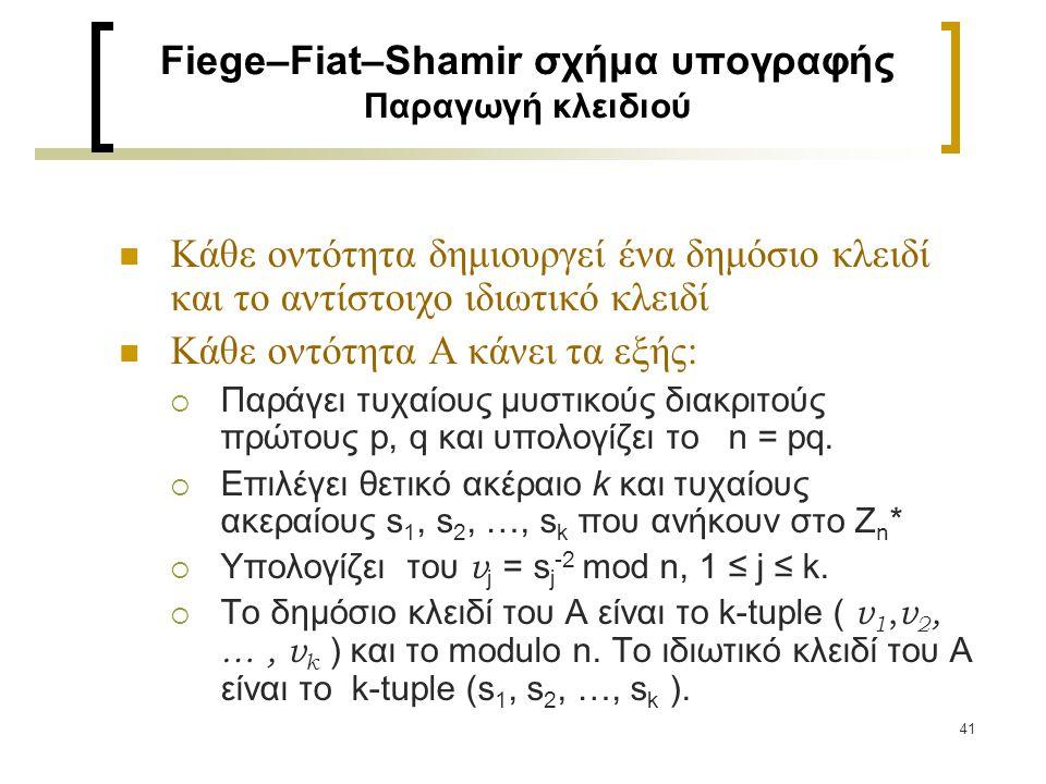 41 Fiege–Fiat–Shamir σχήμα υπογραφής Παραγωγή κλειδιού Κάθε οντότητα δημιουργεί ένα δημόσιο κλειδί και το αντίστοιχο ιδιωτικό κλειδί Κάθε οντότητα Α κ