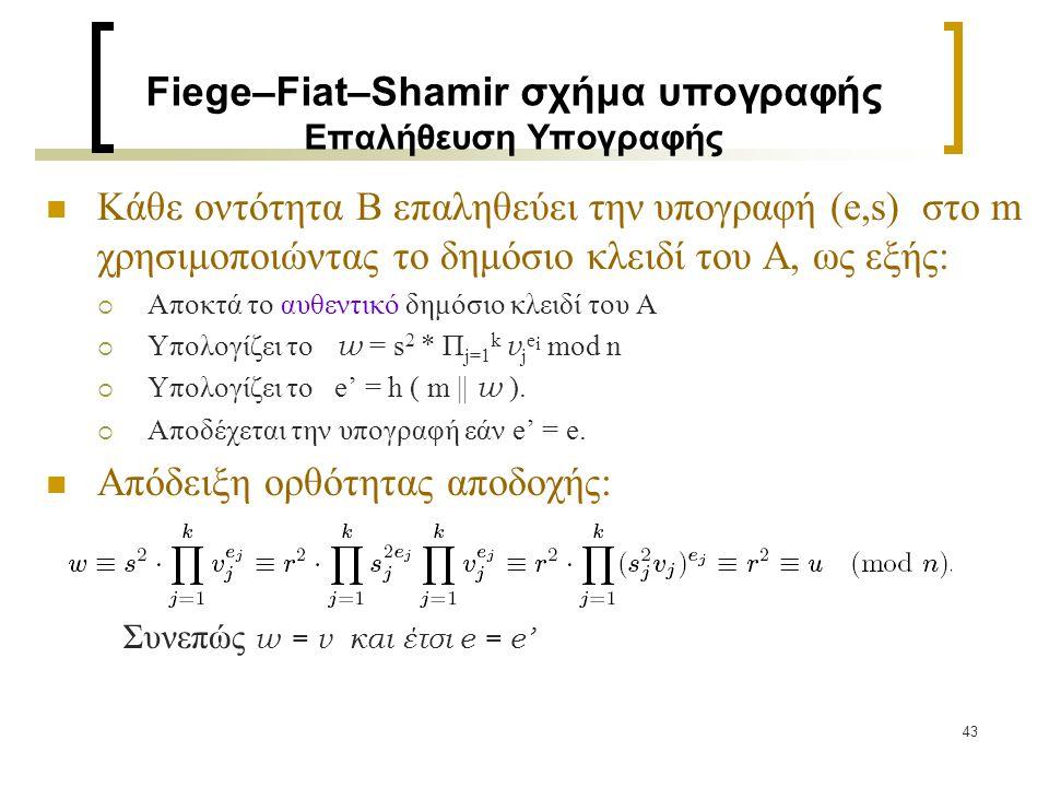 43 Fiege–Fiat–Shamir σχήμα υπογραφής Επαλήθευση Υπογραφής Κάθε οντότητα Β επαληθεύει την υπογραφή (e,s) στο m χρησιμοποιώντας το δημόσιο κλειδί του Α,