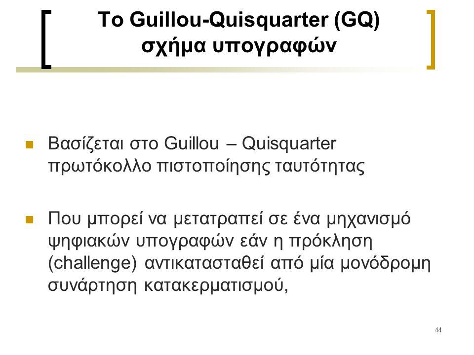 44 To Guillou-Quisquarter (GQ) σχήμα υπογραφών Βασίζεται στο Guillou – Quisquarter πρωτόκολλο πιστοποίησης ταυτότητας Που μπορεί να μετατραπεί σε ένα