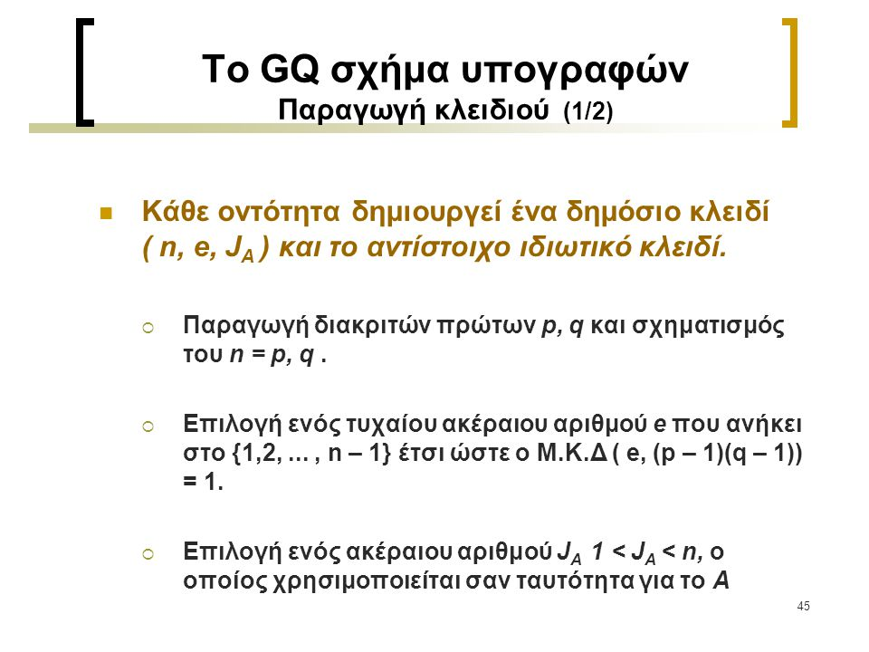 45 To GQ σχήμα υπογραφών Παραγωγή κλειδιού (1/2) Κάθε οντότητα δημιουργεί ένα δημόσιο κλειδί ( n, e, J A ) και το αντίστοιχο ιδιωτικό κλειδί.  Παραγω