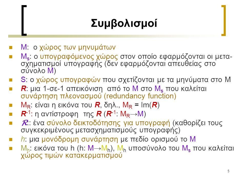 5 Συμβολισμοί Μ: ο χώρος των μηνυμάτων Μ s : ο υπογραφόμενος χώρος στον οποίο εφαρμόζονται οι μετα- σχηματισμοί υπογραφής (δεν εφαρμόζονται απευθείας