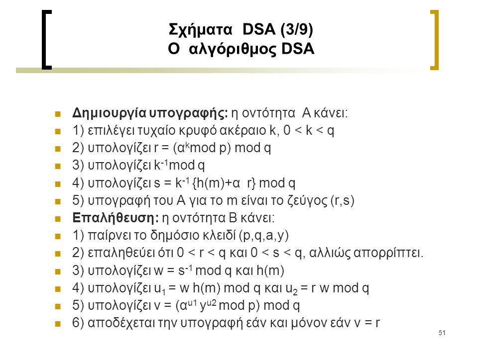51 Σχήματα DSA (3/9) Ο αλγόριθμος DSA Δημιουργία υπογραφής: η οντότητα Α κάνει: 1) επιλέγει τυχαίο κρυφό ακέραιο k, 0 < k < q 2) υπολογίζει r = (α k m