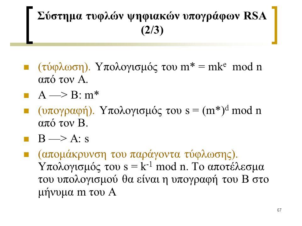 67 Σύστημα τυφλών ψηφιακών υπογράφων RSA (2/3) (τύφλωση). Υπολογισμός του m* = mk e mod n από τον Α. Α —> Β: m* (υπογραφή). Υπολογισμός του s = (m*) d