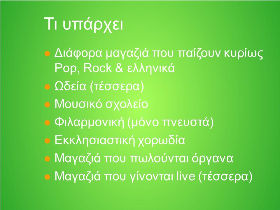 Τι υπάρχει Διάφορα μαγαζιά που παίζουν κυρίως Pop, Rock & ελληνικά Ωδεία (τέσσερα) Μουσικό σχολείο Φιλαρμονική (μόνο πνευστά) Εκκλησιαστική χορωδία Μα