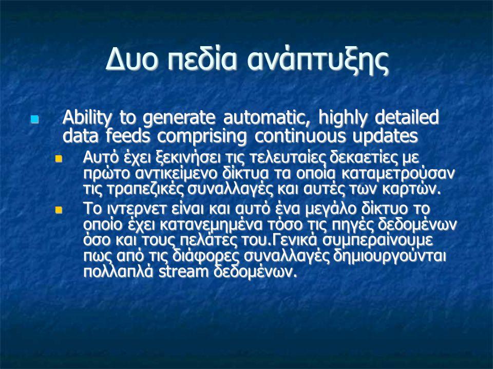 Δυο πεδία ανάπτυξης Ability to generate automatic, highly detailed data feeds comprising continuous updates Ability to generate automatic, highly deta