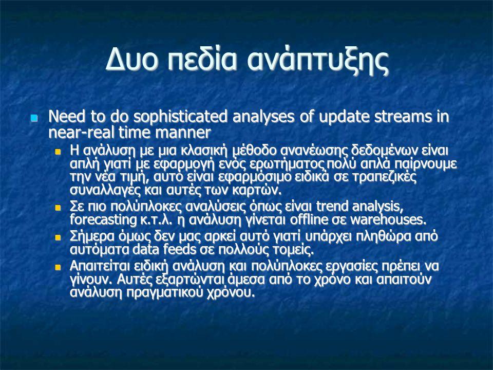 Δυο πεδία ανάπτυξης Need to do sophisticated analyses of update streams in near-real time manner Need to do sophisticated analyses of update streams i