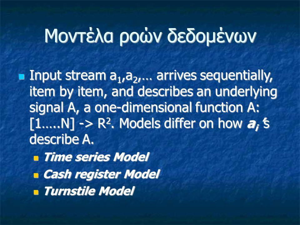 Μοντέλα ροών δεδομένων Input stream a 1,a 2,… arrives sequentially, item by item, and describes an underlying signal A, a one-dimensional function A: