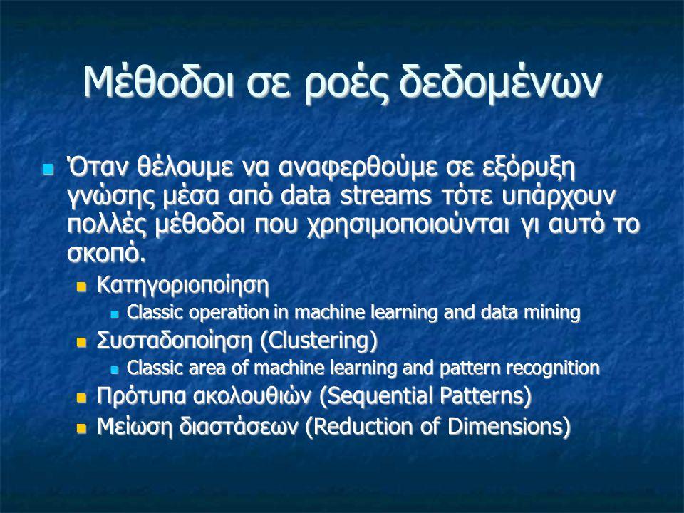 Μέθοδοι σε ροές δεδομένων Όταν θέλουμε να αναφερθούμε σε εξόρυξη γνώσης μέσα από data streams τότε υπάρχουν πολλές μέθοδοι που χρησιμοποιούνται γι αυτ