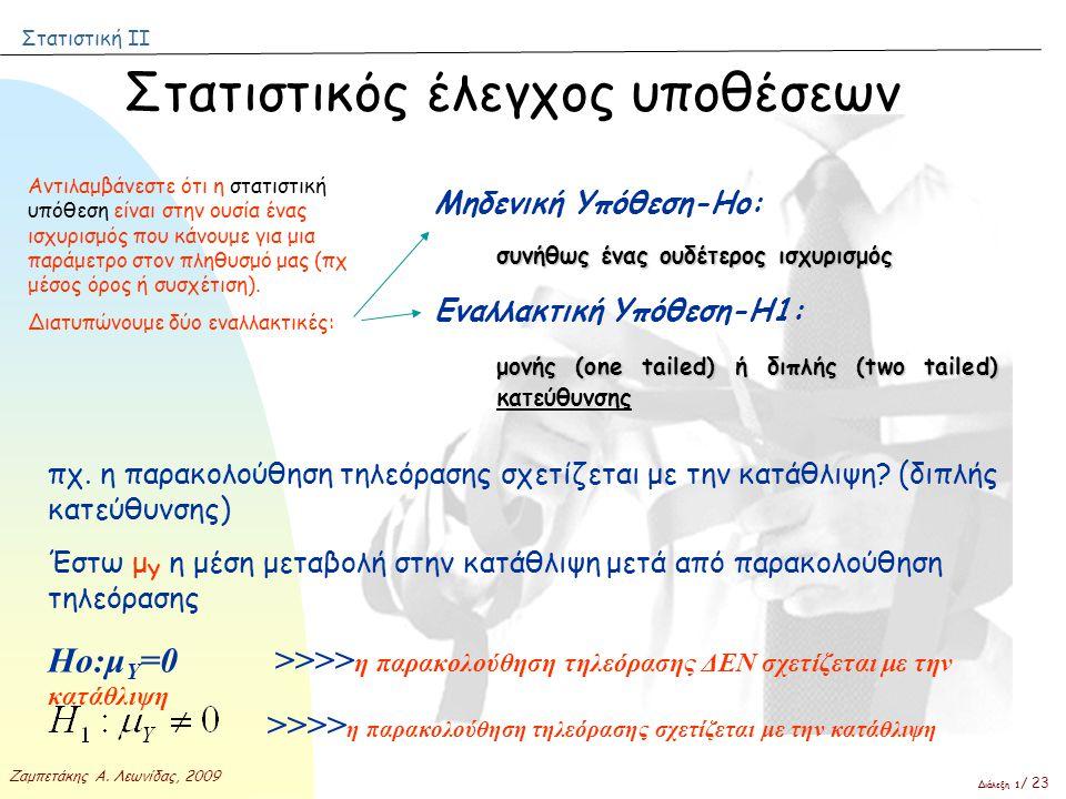 Στατιστική ΙΙ Ζαμπετάκης Α. Λεωνίδας, 2009 Διάλεξη 1 / 23 Αντιλαμβάνεστε ότι η στατιστική υπόθεση είναι στην ουσία ένας ισχυρισμός που κάνουμε για μια