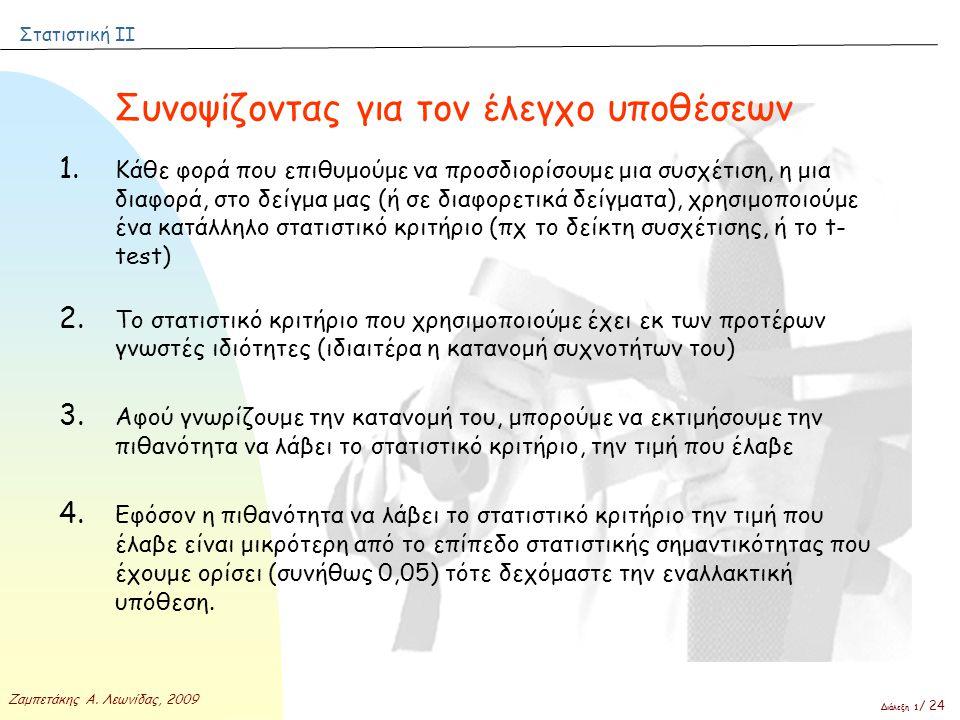 Στατιστική ΙΙ Ζαμπετάκης Α. Λεωνίδας, 2009 Διάλεξη 1 / 24 Συνοψίζοντας για τον έλεγχο υποθέσεων 1. Κάθε φορά που επιθυμούμε να προσδιορίσουμε μια συσχ