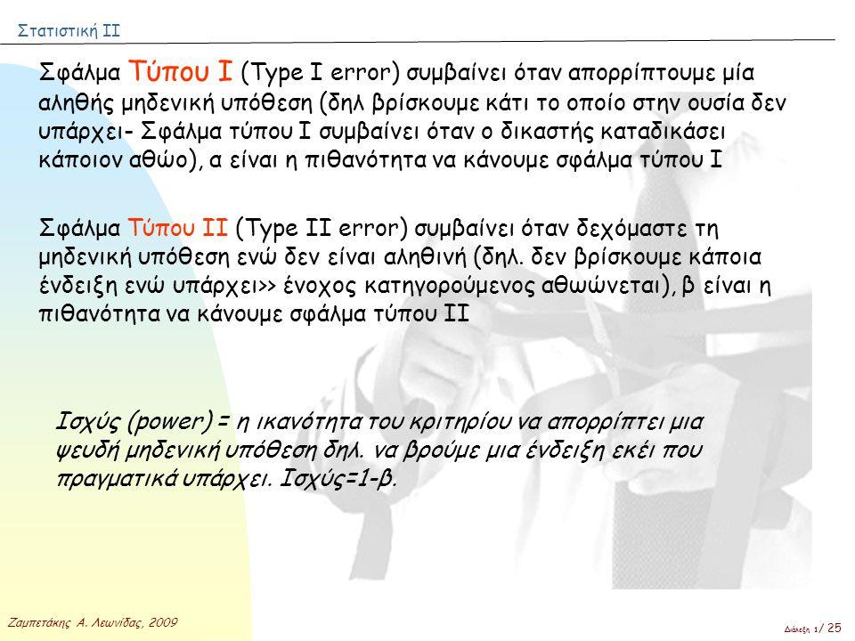 Στατιστική ΙΙ Ζαμπετάκης Α. Λεωνίδας, 2009 Διάλεξη 1 / 25 Σφάλμα Τύπου Ι (Τype I error) συμβαίνει όταν απορρίπτουμε μία αληθής μηδενική υπόθεση (δηλ β