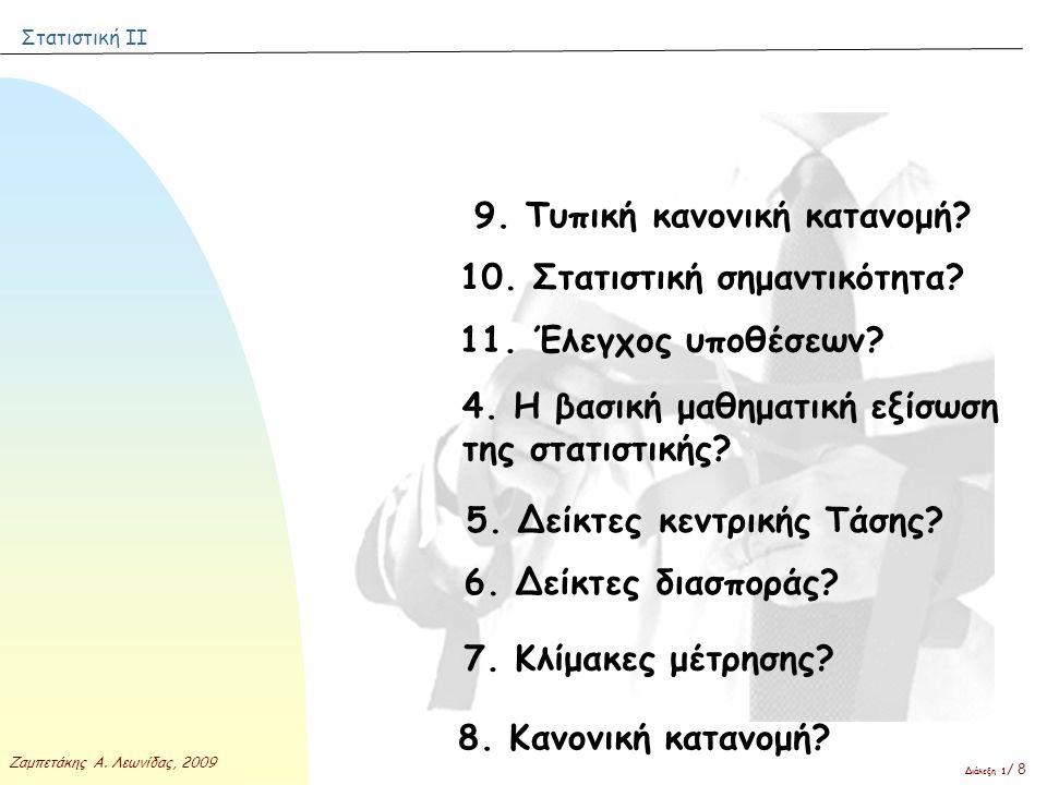 Στατιστική ΙΙ Ζαμπετάκης Α. Λεωνίδας, 2009 Διάλεξη 1 / 8 9. Τυπική κανονική κατανομή? 10. Στατιστική σημαντικότητα? 11. Έλεγχος υποθέσεων? 4. Η βασική