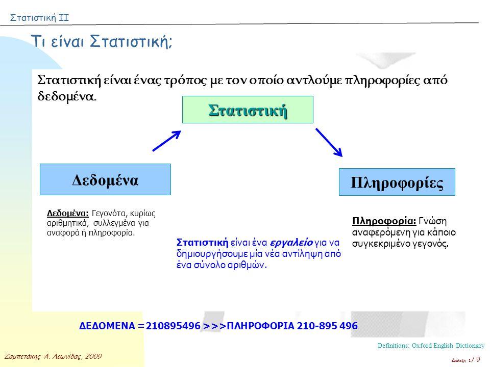 Στατιστική ΙΙ Ζαμπετάκης Α. Λεωνίδας, 2009 Διάλεξη 1 / 9 Τι είναι Στατιστική; Στατιστική είναι ένας τρόπος με τον οποίο αντλούμε πληροφορίες από δεδομ