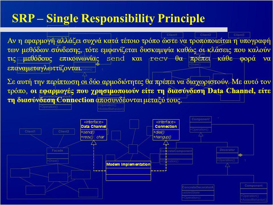 SRP – Single Responsibility Principle Αν η εφαρμογή αλλάζει συχνά κατά τέτοιο τρόπο ώστε να τροποποιείται η υπογραφή των μεθόδων σύνδεσης, τότε εμφανίζεται δυσκαμψία καθώς οι κλάσεις που καλούν τις μεθόδους επικοινωνίας send και recv θα πρέπει κάθε φορά να επαναμεταγλωττίζονται.