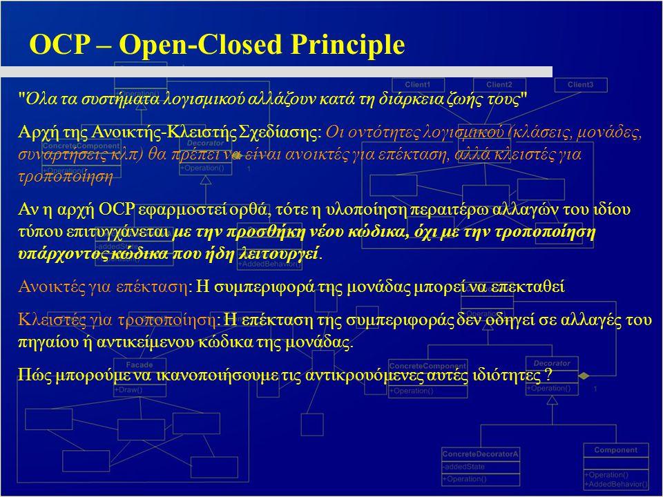 OCP – Open-Closed Principle Όλα τα συστήματα λογισμικού αλλάζουν κατά τη διάρκεια ζωής τους Αρχή της Ανοικτής-Κλειστής Σχεδίασης: Οι οντότητες λογισμικού (κλάσεις, μονάδες, συναρτήσεις κλπ) θα πρέπει να είναι ανοικτές για επέκταση, αλλά κλειστές για τροποποίηση Αν η αρχή OCP εφαρμοστεί ορθά, τότε η υλοποίηση περαιτέρω αλλαγών του ιδίου τύπου επιτυγχάνεται με την προσθήκη νέου κώδικα, όχι με την τροποποίηση υπάρχοντος κώδικα που ήδη λειτουργεί.