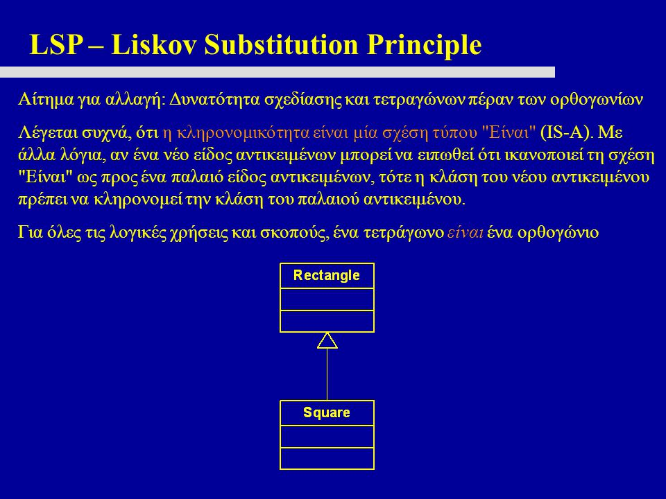 LSP – Liskov Substitution Principle Αίτημα για αλλαγή: Δυνατότητα σχεδίασης και τετραγώνων πέραν των ορθογωνίων Λέγεται συχνά, ότι η κληρονομικότητα ε