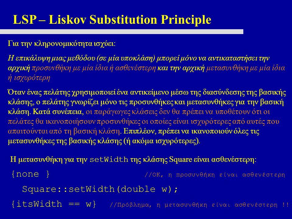 LSP – Liskov Substitution Principle Για την κληρονομικότητα ισχύει: Η επικάλυψη μιας μεθόδου (σε μία υποκλάση) μπορεί μόνο να αντικαταστήσει την αρχικ