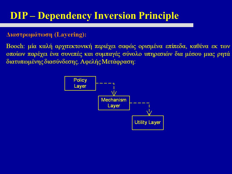 DIP – Dependency Inversion Principle Διαστρωμάτωση (Layering): Booch: μία καλή αρχιτεκτονική περιέχει σαφώς ορισμένα επίπεδα, καθένα εκ των οποίων παρ