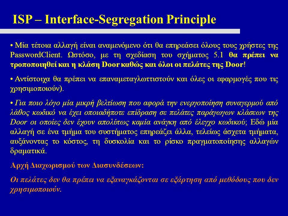 ISP – Interface-Segregation Principle Μία τέτοια αλλαγή είναι αναμενόμενο ότι θα επηρεάσει όλους τους χρήστες της PasswordClient. Ωστόσο, με τη σχεδία