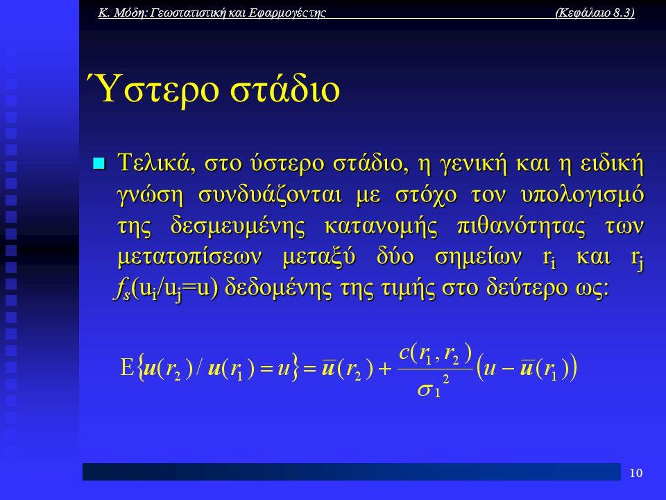 Κ. Μόδη: Γεωστατιστική και Εφαρμογές της (Κεφάλαιο 8.3) 10 Ύστερο στάδιο Τελικά, στο ύστερο στάδιο, η γενική και η ειδική γνώση συνδυάζονται με στόχο