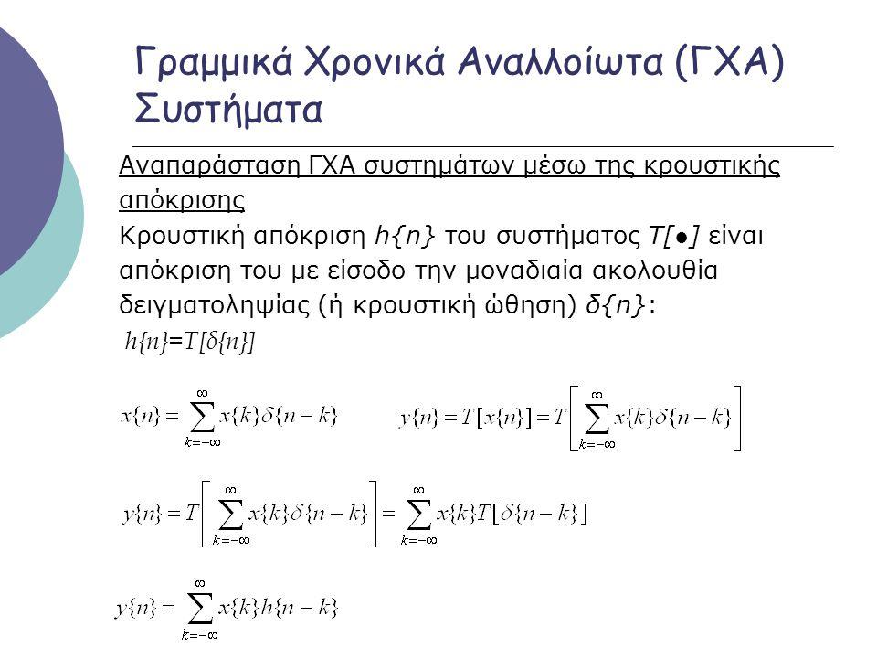 Γραμμικά Χρονικά Αναλλοίωτα (ΓΧΑ) Συστήματα Αναπαράσταση ΓΧΑ συστημάτων μέσω της κρουστικής απόκρισης Κρουστική απόκριση h{n} του συστήματος Τ[●] είνα