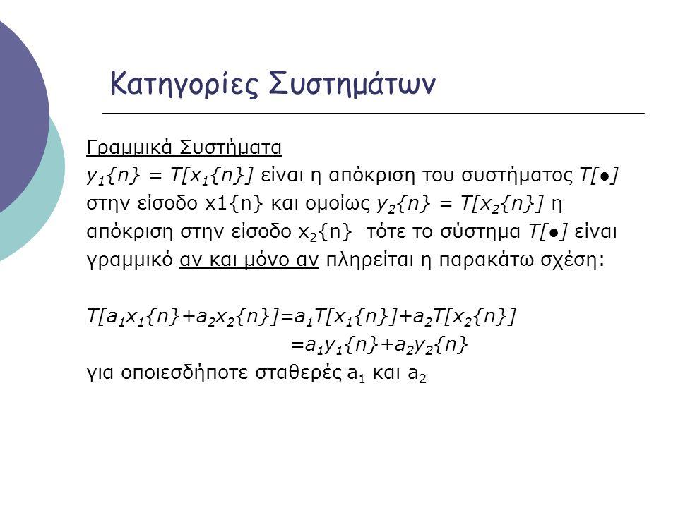 Κατηγορίες Συστημάτων Γραμμικά Συστήματα y 1 {n} = Τ[x 1 {n}] είναι η απόκριση του συστήματος Τ[●] στην είσοδο x1{n} και ομοίως y 2 {n} = Τ[x 2 {n}] η