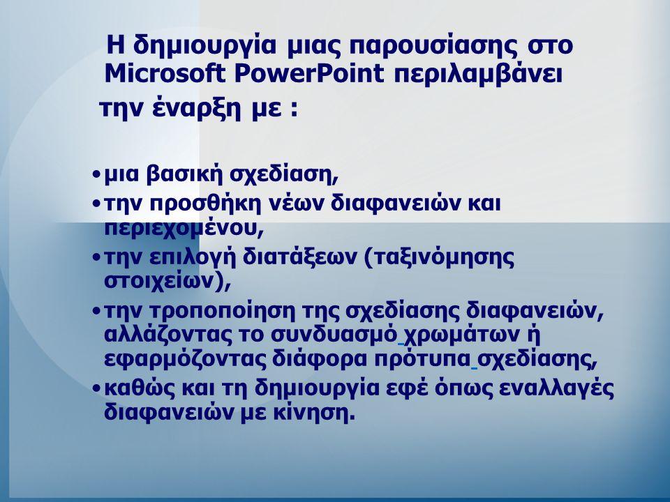Η δημιουργία μιας παρουσίασης στο Microsoft PowerPoint περιλαμβάνει την έναρξη με : μια βασική σχεδίαση, την προσθήκη νέων διαφανειών και περιεχομένου