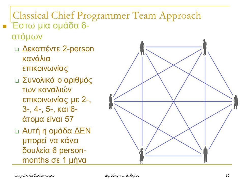 Τεχνολογία Υπολογισμού Δρ. Μαρία Ι. Ανδρέου 16 Classical Chief Programmer Team Approach Έστω μια ομάδα 6- ατόμων  Δεκαπέντε 2-person κανάλια επικοινω