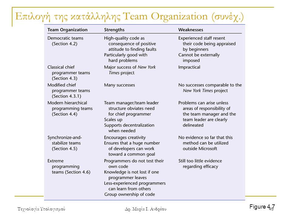 Τεχνολογία Υπολογισμού Δρ. Μαρία Ι. Ανδρέου 48 Επιλογή της κατάλληλης Team Organization (συνέχ.) Figure 4.7