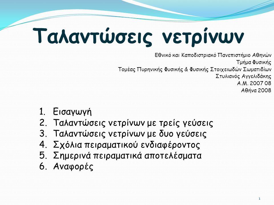 Ταλαντώσεις νετρίνων Εθνικό και Καποδιστριακό Πανεπιστήμιο Αθηνών Τμήμα Φυσικής Τομέας Πυρηνικής Φυσικής & Φυσικής Στοιχειωδών Σωματιδίων Στυλιανός Αγ