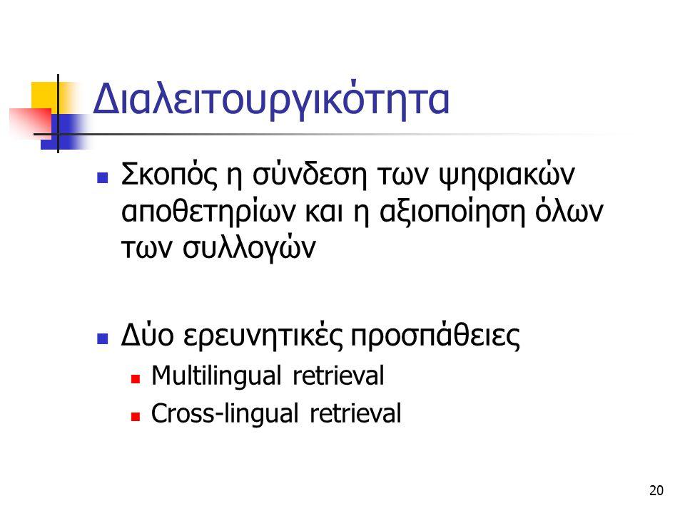 20 Διαλειτουργικότητα Σκοπός η σύνδεση των ψηφιακών αποθετηρίων και η αξιοποίηση όλων των συλλογών Δύο ερευνητικές προσπάθειες Multilingual retrieval Cross-lingual retrieval