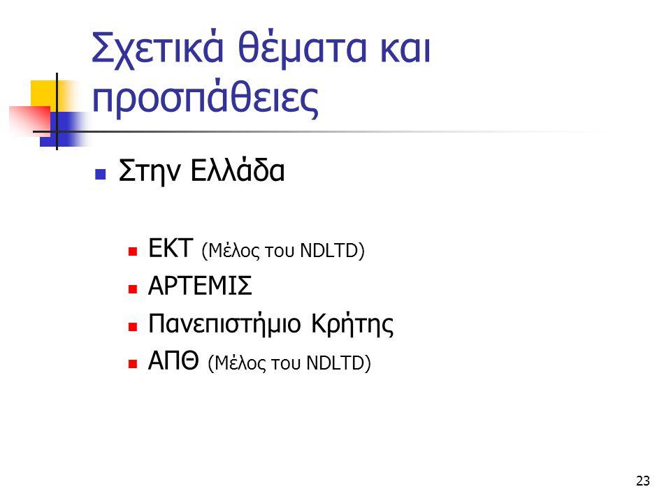 23 Σχετικά θέματα και προσπάθειες Στην Ελλάδα ΕΚΤ (Μέλος του NDLTD) ΑΡΤΕΜΙΣ Πανεπιστήμιο Κρήτης ΑΠΘ (Μέλος του NDLTD)