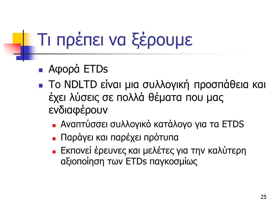 25 Τι πρέπει να ξέρουμε Αφορά ETDs Το NDLTD είναι μια συλλογική προσπάθεια και έχει λύσεις σε πολλά θέματα που μας ενδιαφέρουν Αναπτύσσει συλλογικό κατάλογο για τα ETDS Παράγει και παρέχει πρότυπα Εκπονεί έρευνες και μελέτες για την καλύτερη αξιοποίηση των ETDs παγκοσμίως