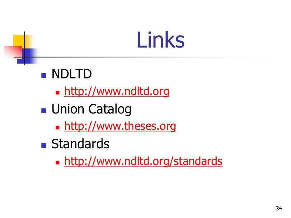 34 Links NDLTD http://www.ndltd.org Union Catalog http://www.theses.org Standards http://www.ndltd.org/standards