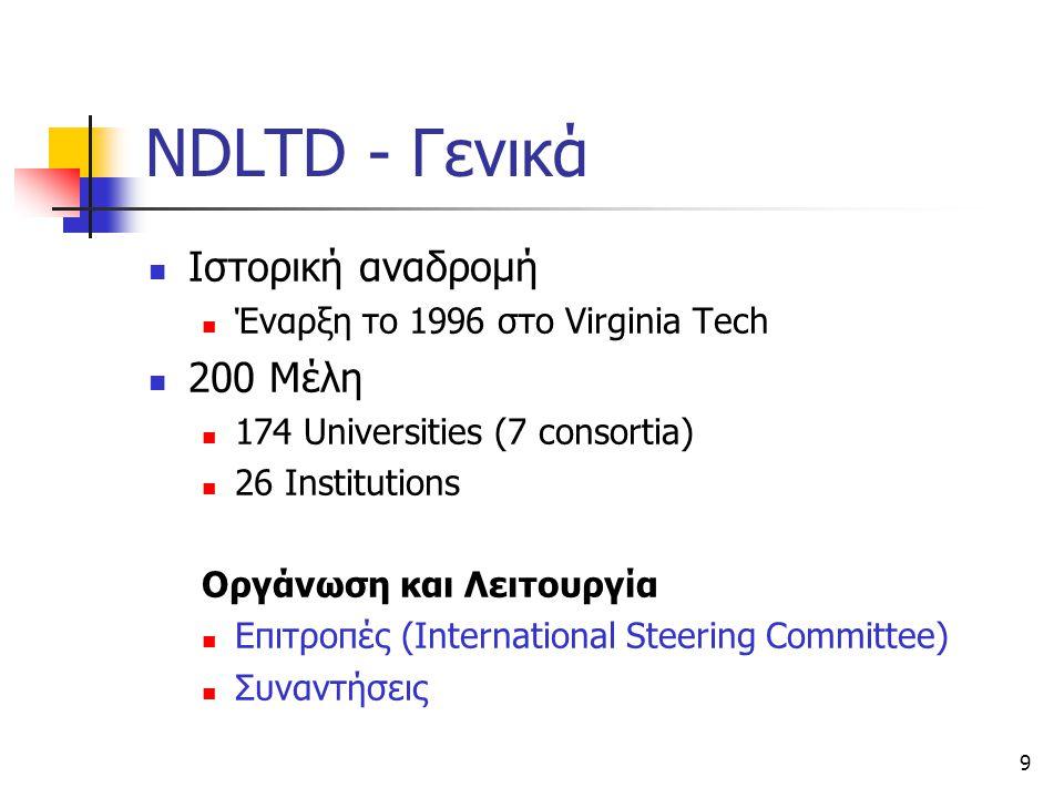 9 NDLTD - Γενικά Ιστορική αναδρομή Έναρξη το 1996 στο Virginia Tech 200 Μέλη 174 Universities (7 consortia) 26 Institutions Οργάνωση και Λειτουργία Επιτροπές (International Steering Committee) Συναντήσεις