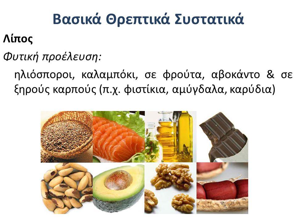 Βασικά Θρεπτικά Συστατικά Λίπος Φυτική προέλευση: ηλιόσποροι, καλαμπόκι, σε φρούτα, αβοκάντο & σε ξηρούς καρπούς (π.χ. φιστίκια, αμύγδαλα, καρύδια)