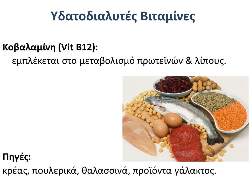 Υδατοδιαλυτές Βιταμίνες Κοβαλαμίνη (Vit Β12): εμπλέκεται στο μεταβολισμό πρωτεϊνών & λίπους. Πηγές: κρέας, πουλερικά, θαλασσινά, προϊόντα γάλακτος.