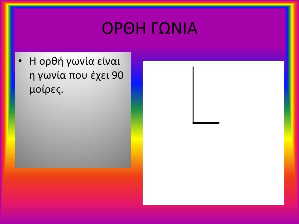 ΟΞΕΙΑ ΓΩΝΙΑ Η οξεία γωνία είναι η γωνία που έχει λιγότερες από 90 μοίρες.