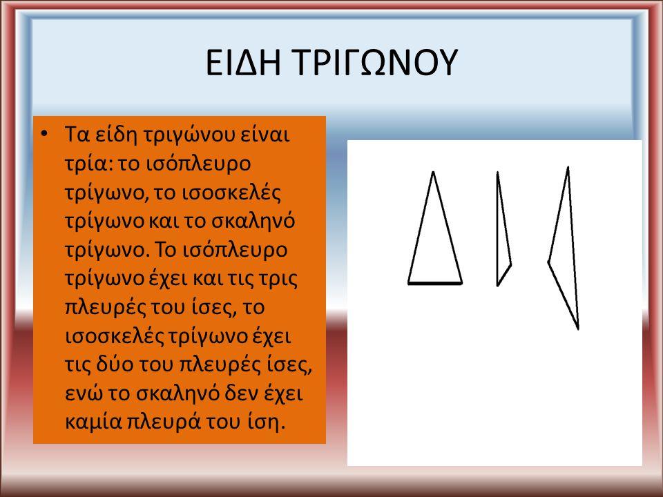 ΕΙΔΗ ΤΡΙΓΩΝΟΥ Τα είδη τριγώνου είναι τρία: το ισόπλευρο τρίγωνο, το ισοσκελές τρίγωνο και το σκαληνό τρίγωνο. Το ισόπλευρο τρίγωνο έχει και τις τρις π