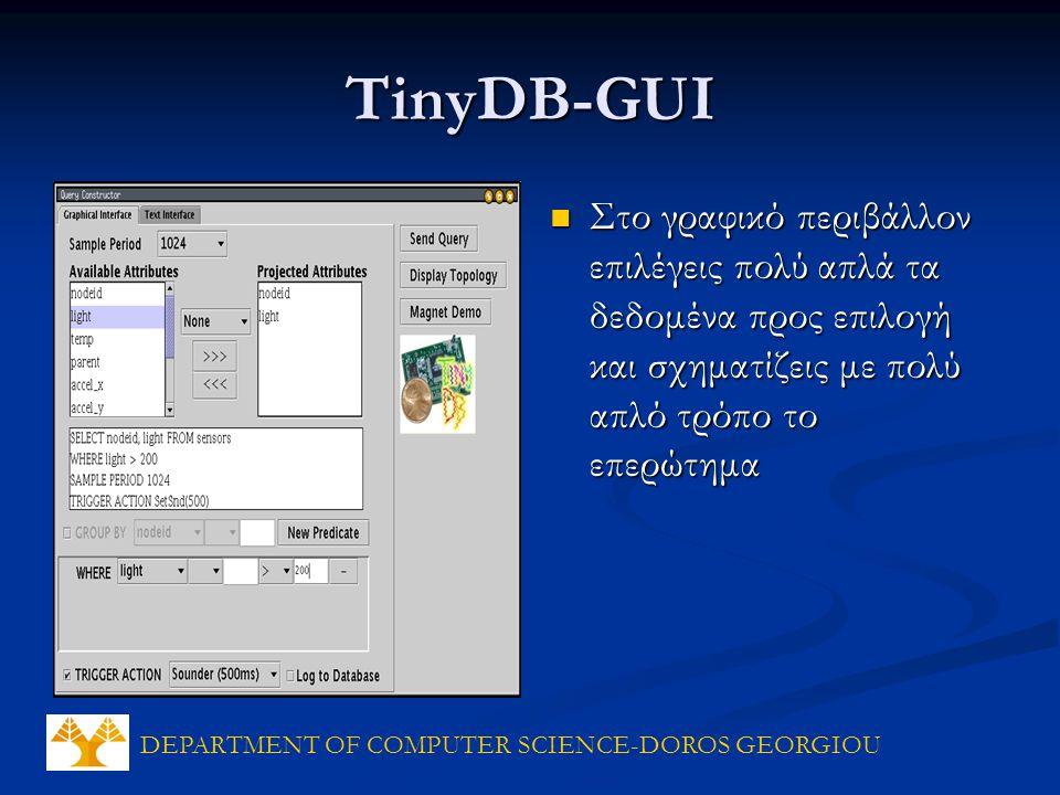 DEPARTMENT OF COMPUTER SCIENCE-DOROS GEORGIOU TinyDB-GUI Στο γραφικό περιβάλλον επιλέγεις πολύ απλά τα δεδομένα προς επιλογή και σχηματίζεις με πολύ απλό τρόπο το επερώτημα Στο γραφικό περιβάλλον επιλέγεις πολύ απλά τα δεδομένα προς επιλογή και σχηματίζεις με πολύ απλό τρόπο το επερώτημα