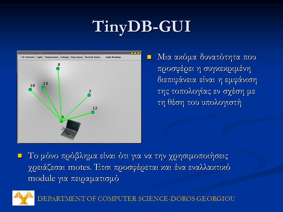 DEPARTMENT OF COMPUTER SCIENCE-DOROS GEORGIOU TinyDB-GUI Μια ακόμα δυνατότητα που προσφέρει η συγκεκριμένη διεπιφάνεια είναι η εμφάνιση της τοπολογίας εν σχέση με τη θέση του υπολογιστή Μια ακόμα δυνατότητα που προσφέρει η συγκεκριμένη διεπιφάνεια είναι η εμφάνιση της τοπολογίας εν σχέση με τη θέση του υπολογιστή Το μόνο πρόβλημα είναι ότι για να την χρησιμοποιήσεις χρειάζεσαι motes.