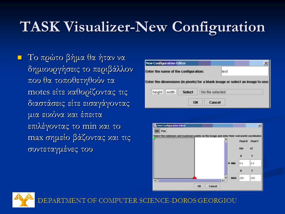 DEPARTMENT OF COMPUTER SCIENCE-DOROS GEORGIOU TASK Visualizer-New Configuration Το πρώτο βήμα θα ήταν να δημιουργήσεις το περιβάλλον που θα τοποθετηθούν τα motes είτε καθορίζοντας τις διαστάσεις είτε εισαγάγοντας μια εικόνα και έπειτα επιλέγοντας το min και το max σημείο βάζοντας και τις συντεταγμένες του Το πρώτο βήμα θα ήταν να δημιουργήσεις το περιβάλλον που θα τοποθετηθούν τα motes είτε καθορίζοντας τις διαστάσεις είτε εισαγάγοντας μια εικόνα και έπειτα επιλέγοντας το min και το max σημείο βάζοντας και τις συντεταγμένες του