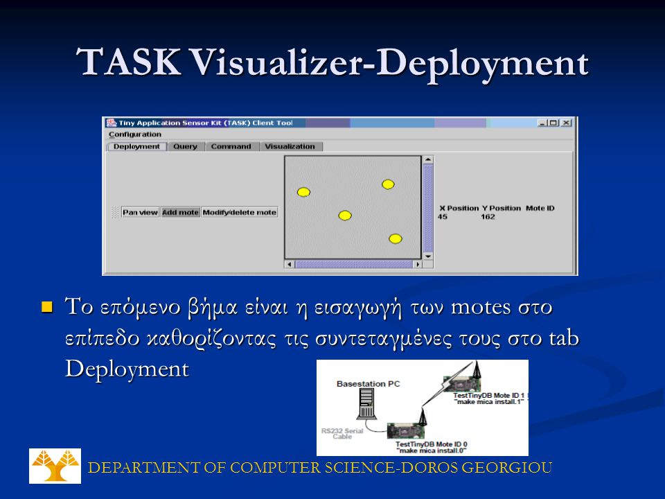 DEPARTMENT OF COMPUTER SCIENCE-DOROS GEORGIOU TASK Visualizer-Deployment Το επόμενο βήμα είναι η εισαγωγή των motes στο επίπεδο καθορίζοντας τις συντεταγμένες τους στο tab Deployment Το επόμενο βήμα είναι η εισαγωγή των motes στο επίπεδο καθορίζοντας τις συντεταγμένες τους στο tab Deployment