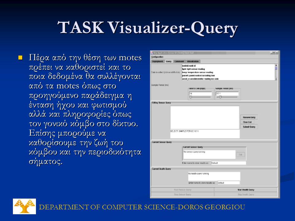 DEPARTMENT OF COMPUTER SCIENCE-DOROS GEORGIOU TASK Visualizer-Query Πέρα από την θέση των motes πρέπει να καθοριστεί και το ποια δεδομένα θα συλλέγονται από τα motes όπως στο προηγούμενο παράδειγμα η ένταση ήχου και φωτισμού αλλά και πληροφορίες όπως τον γονικό κόμβο στο δίκτυο.