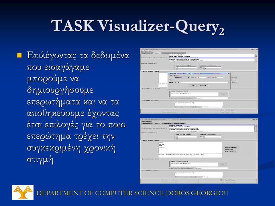DEPARTMENT OF COMPUTER SCIENCE-DOROS GEORGIOU TASK Visualizer-Query 2 Επιλέγοντας τα δεδομένα που εισαγάγαμε μπορούμε να δημιουργήσουμε επερωτήματα και να τα αποθηκεύουμε έχοντας έτσι επιλογές για το ποιο επερώτημα τρέχει την συγκεκριμένη χρονική στιγμή Επιλέγοντας τα δεδομένα που εισαγάγαμε μπορούμε να δημιουργήσουμε επερωτήματα και να τα αποθηκεύουμε έχοντας έτσι επιλογές για το ποιο επερώτημα τρέχει την συγκεκριμένη χρονική στιγμή