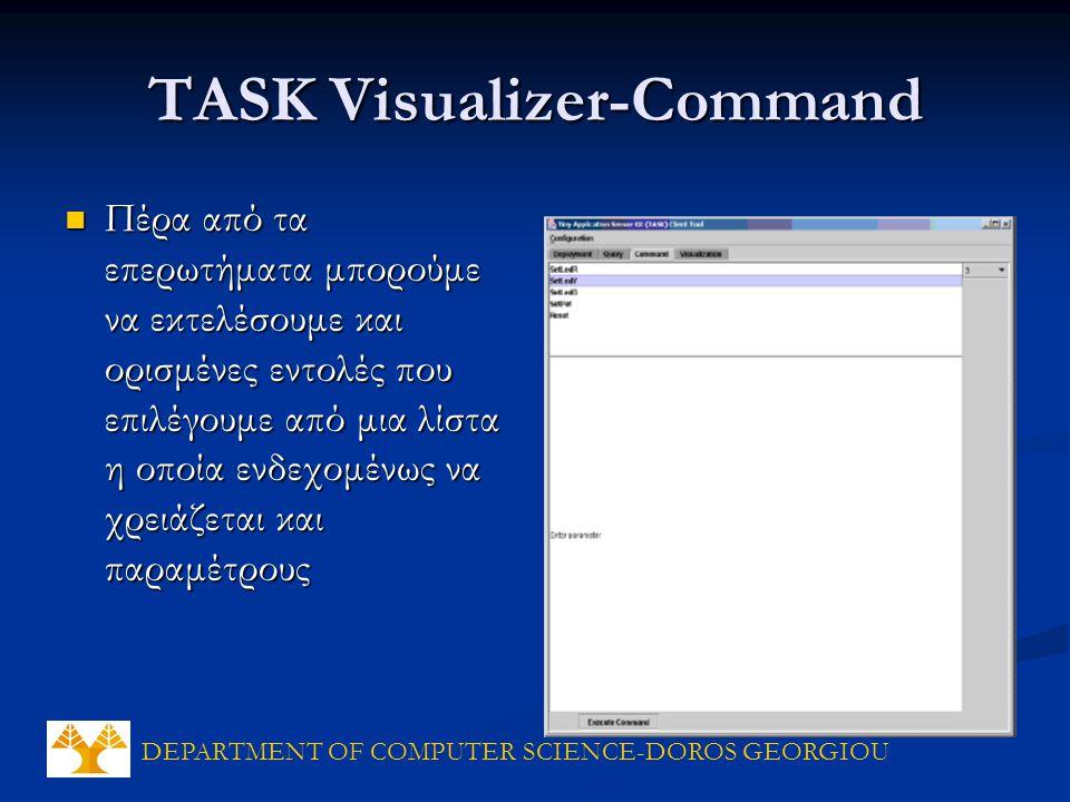 DEPARTMENT OF COMPUTER SCIENCE-DOROS GEORGIOU TASK Visualizer-Command Πέρα από τα επερωτήματα μπορούμε να εκτελέσουμε και ορισμένες εντολές που επιλέγουμε από μια λίστα η οποία ενδεχομένως να χρειάζεται και παραμέτρους Πέρα από τα επερωτήματα μπορούμε να εκτελέσουμε και ορισμένες εντολές που επιλέγουμε από μια λίστα η οποία ενδεχομένως να χρειάζεται και παραμέτρους