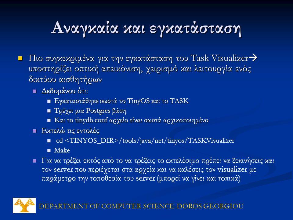 DEPARTMENT OF COMPUTER SCIENCE-DOROS GEORGIOU Αναγκαία και εγκατάσταση Πιο συγκεκριμένα για την εγκατάσταση του Task Visualizer  υποστηρίζει οπτική α